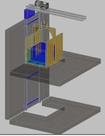 Planos de Montacargas en 3d, en Sistemas de elevación – Instalaciones