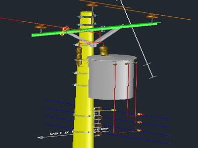Planos de Montaje de transformador monofásico, en Tendidos electricidad – Infraestructura