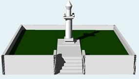 imagen Monumento geométirco en 3d, en Equipamiento - Parques paseos y jardines