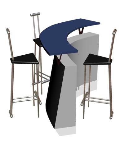 Mostrador con butacas, en Butacas – Muebles equipamiento