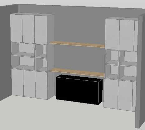 Planos de Mueble biblioteca 3d, en Estanterías y modulares – Muebles equipamiento