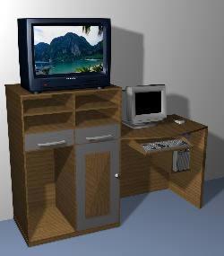 Mueble de computadora y tv 3d, en Dormitorios – Muebles equipamiento