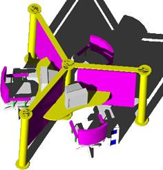 Planos de Mueble divisorio para oficinas – para 3 estaciones de trabajo, en Oficinas y laboratorios – Muebles equipamiento