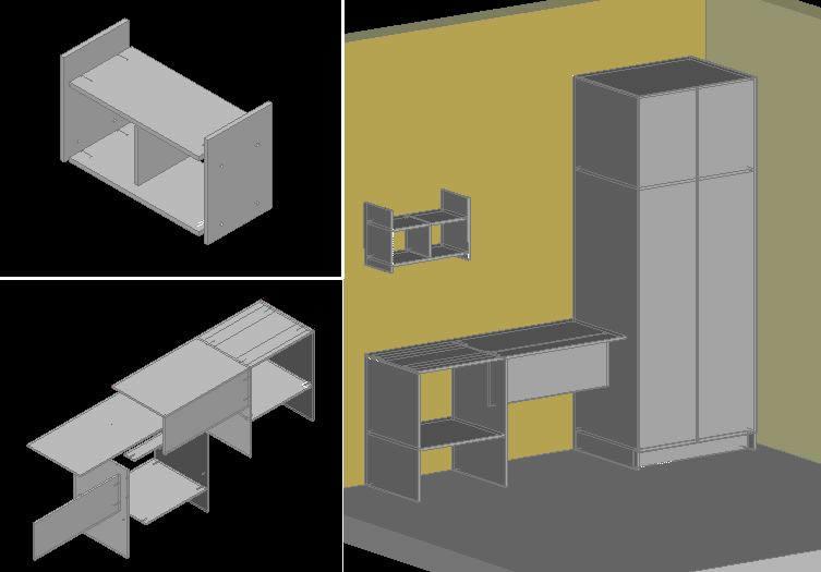 Planos de Mueble en melamina, en Estanterías y modulares – Muebles equipamiento