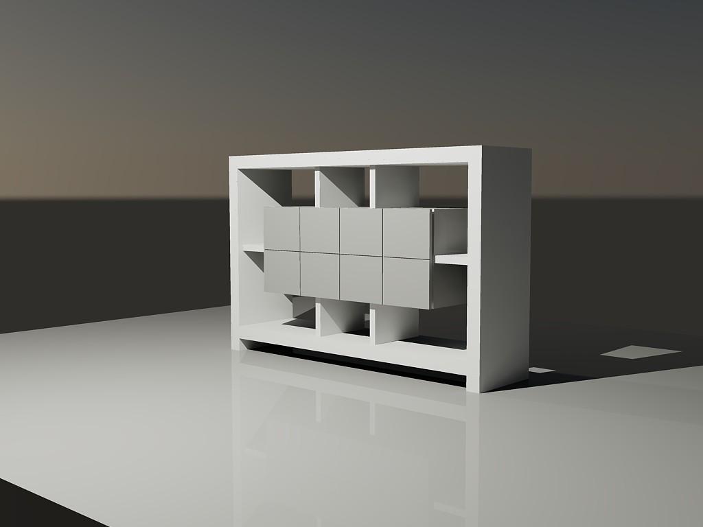 Planos de Mueble minimalista 3d, en Escritorios – Muebles equipamiento