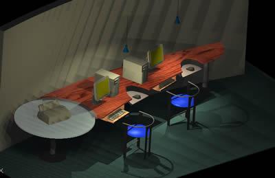 Planos de Mueble para computador, en Cibercafés locutorios y telefónicas – Muebles equipamiento
