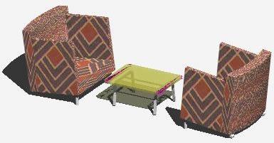 imagen Muebles de la sala de estar; 2 sillones personales y mesita central, en Sillones 3d - Muebles equipamiento