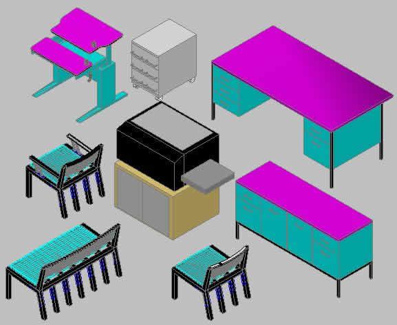 Planos de Muebles de oficina en 3d, en Oficinas y laboratorios – Muebles equipamiento