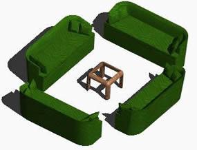 Planos de Muebles de sala, en Sillones 3d – Muebles equipamiento