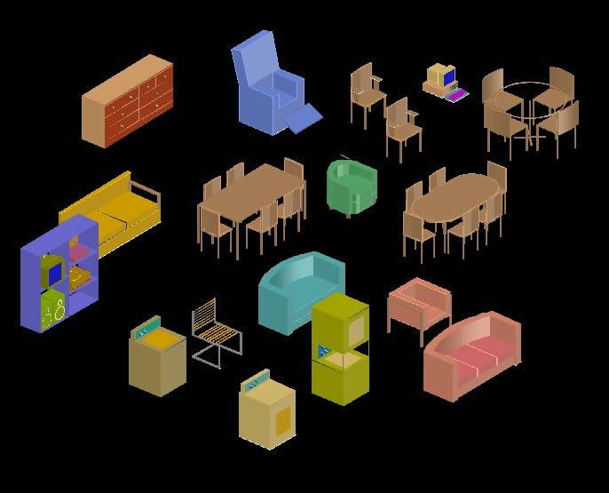 Planos de Muebles en  3d, en Muebles varios – Muebles equipamiento