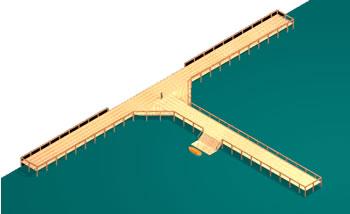 Planos de Muelle 3d, en Muelles y embarcaderos – Proyectos
