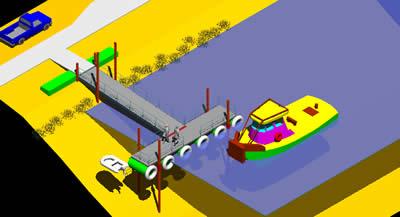Planos de Muelle de pontones – embarcadero 3d, en Muelles y embarcaderos – Proyectos
