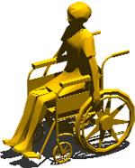 Planos de Mujer en silla de rueda 3d, en 3d – Personas