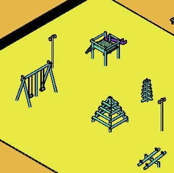Planos de Multicancha y juegos infantiles, en Equipamiento de parques paseos y plazas – Equipamiento urbano