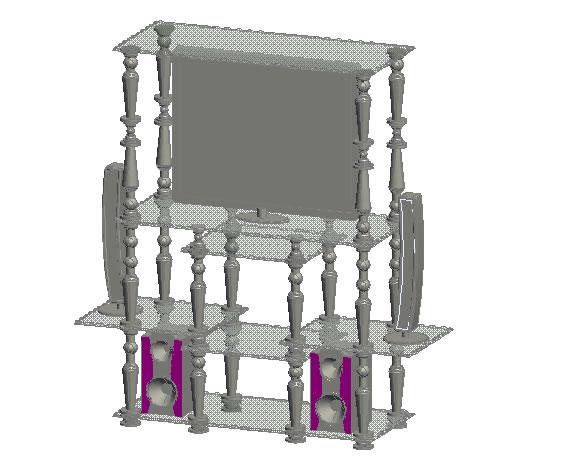Planos de Multimueble en marmol y vidrio, en Estanterías y modulares – Muebles equipamiento