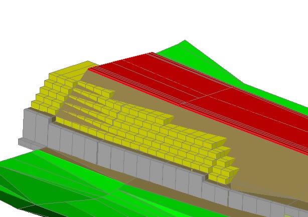 Planos de Muro de contención con gaviones teramesh, en Consolidación de suelos – cimentación – Obras viales – diques