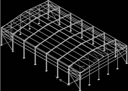 Planos de Nave industrial 3d, en Estructuras de acero – Detalles constructivos
