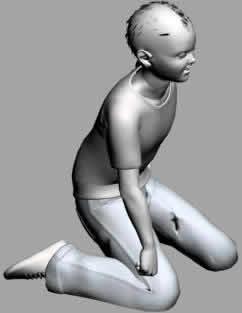 imagen Nino de rodillas 3d, en 3d - Personas
