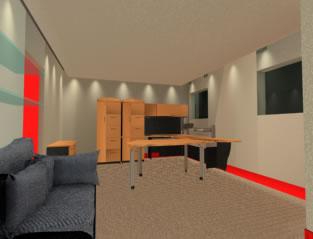 Oficina 3d con muebles, en Oficinas y laboratorios – Muebles equipamiento