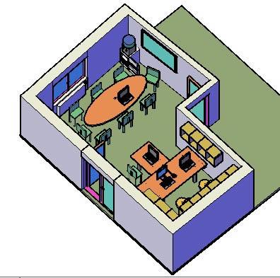 Planos de Oficina  3d, en Oficinas y laboratorios – Muebles equipamiento
