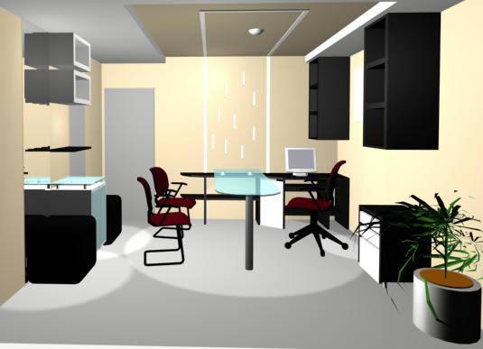 Oficina comercial 3d, en Oficinas y laboratorios – Muebles equipamiento