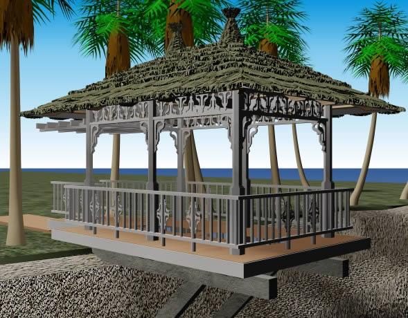 imagen Palapa en la peña 3d, en Pérgolas fuentes y elementos decorativos - Parques paseos y jardines
