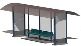 Planos de Parada de autobus 3d, en Transferencia peatón – vehículo paradores – Equipamiento urbano