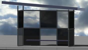 imagen Parada de camion 3d, en Transferencia peatón - vehículo paradores - Equipamiento urbano