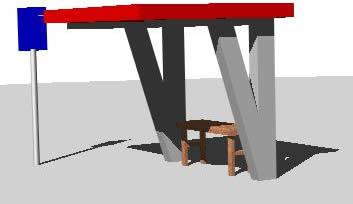 imagen Parada de omnibus 3d, en Transferencia peatón - vehículo paradores - Equipamiento urbano