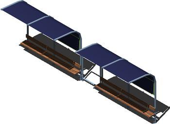 Planos de Parada de omnibus en 3d con materiales aplicados, en Transferencia peatón – vehículo paradores – Equipamiento urbano