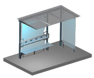 Planos de Parada en 3d; vidrio y ac. inox, en Transferencia peatón – vehículo paradores – Equipamiento urbano