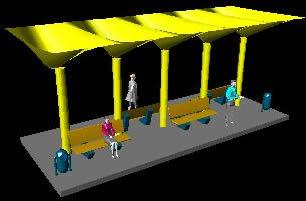 Planos de Paradero de autobos en 3d, en Transferencia peatón – vehículo paradores – Equipamiento urbano