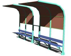 Planos de Paradero de bus, en Transferencia peatón – vehículo paradores – Equipamiento urbano
