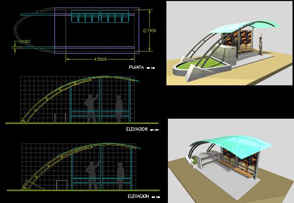 Planos de Paradero de buses, en Transferencia peatón – vehículo paradores – Equipamiento urbano