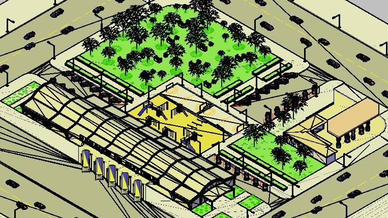 Planos de Parador de autobus, en Transferencia peatón – vehículo paradores – Equipamiento urbano