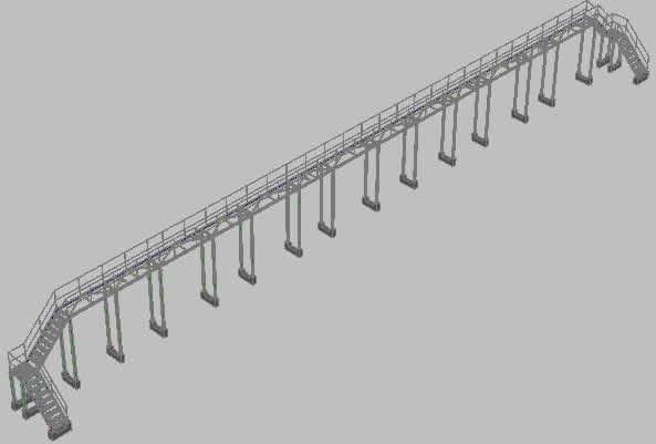 Planos de Pasarela 3d, en Puentes – Obras viales – diques