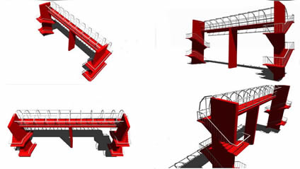 Planos de Pasarela peatonal 3d, en Puentes – Obras viales – diques