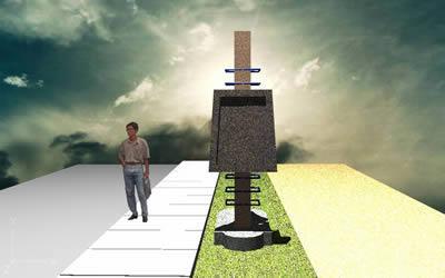 Planos de Pedestal de concreto, en Equipamiento – Parques paseos y jardines