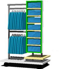 Planos de Perchero móvil de uso comercial, en Supermercados y tiendas – Muebles equipamiento
