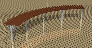 Planos de Pergola 3d de forma curva con materiales asignados, en Pérgolas fuentes y elementos decorativos – Parques paseos y jardines