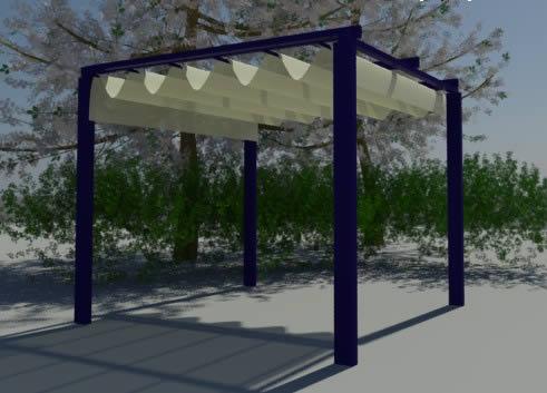 imagen Pergola con techo deslizante 290x290x240 cm., en Pérgolas fuentes y elementos decorativos - Parques paseos y jardines