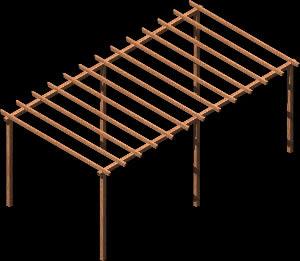 Planos de Pérgola madera 3d, en Pérgolas fuentes y elementos decorativos – Parques paseos y jardines