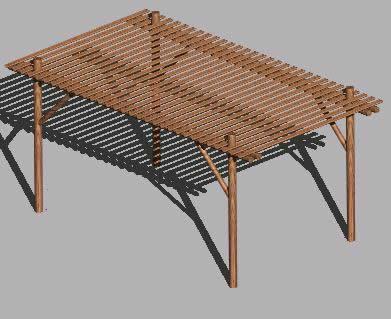 Planos de Pérgola madera rolliza 3d, en Pérgolas fuentes y elementos decorativos – Parques paseos y jardines