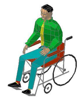 Planos de Persona en silla de ruedas 3d, en Personas – Discapacitados