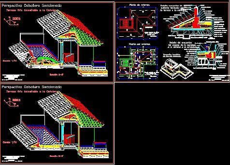 Planos de Perspectiva terraza, en Cubiertas – estructuras – Detalles constructivos