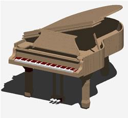 Planos de Piano de cola 3d, en Instrumentos musicales – Muebles equipamiento