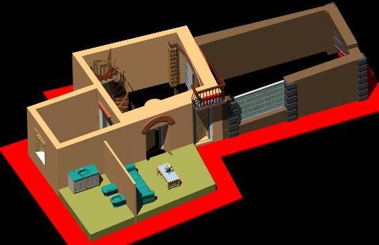 Planos de Piano terra villetta 3d, en Vivienda unifamiliar – Proyectos
