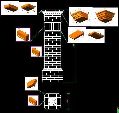 Planos de Pilar de mampuestos, en Muros de ladrillos – Detalles constructivos