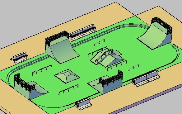 Planos de Pista de skate 3d, en Canchas – Deportes y recreación