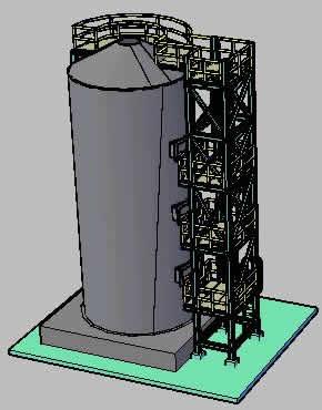 Planos de Plataformas para mantenimiento de torre de catalisis, en Industria minera – Máquinas instalaciones